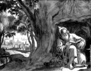 Erimit som sitter under ett träd