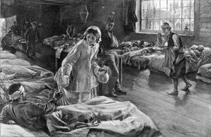 Bild av en sköterska som hjälper sjuka soldater
